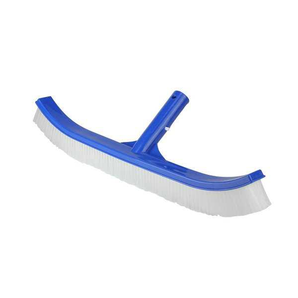 17.5' Blue Standard Curve Nylon Bristle Wall Brush with Aluminum Support - White