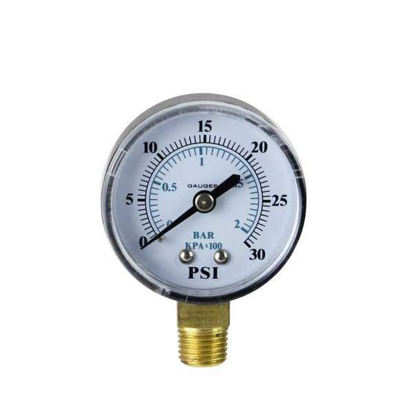 2.75' (50mm) Side Mount Plastic Cover Pressure Gauge 0-30 PSI - White