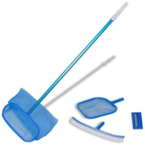 vidaXL Pool Cleaning Set Brush 2 Leaf Skimmers 1 Telescopic Pole
