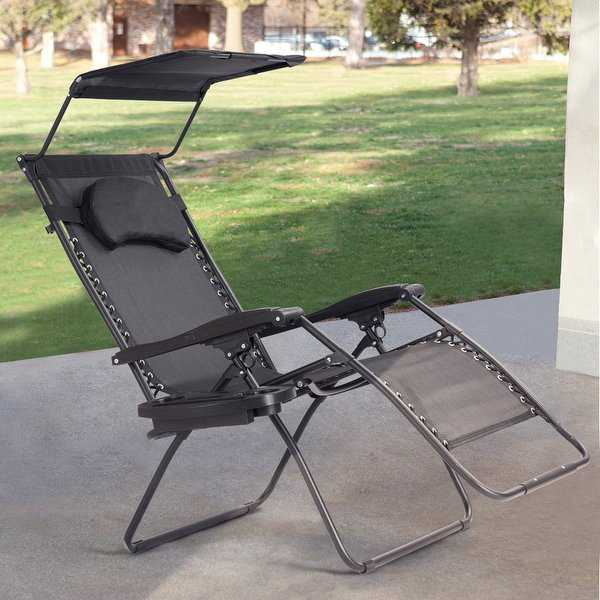 Gymax Folding Recliner Zero Gravity Lounge Chair W/ Shade Canopy Cup Holder Black